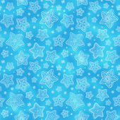 Blue hand-drawn snowflakes seamless pattern — Stock Vector