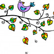 Violet hand-drawn bird on the tree — Stock Photo