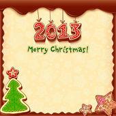 Christmas chocolate honey-cakes greetings card — Vector de stock