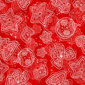 Hand-drawn stars-snowflakes seamless pattern — Stock Vector