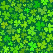 暗绿色无缝三叶草图案 — 图库矢量图片