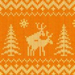 Stock Vector: Joking orange knitted ornament with deers