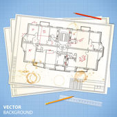 Architectural papers with sketches and pencils — Stock Vector