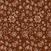 Mano-dibujo patrón de flor en color chocolate — Vector de stock