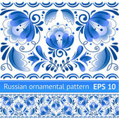 Russian national blue floral pattern — Vector de stock