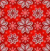 Christmas red embroidery seamless pattern — Stock Vector