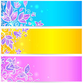 Colorful blue, yellow and violet flowers banners — Stock Vector