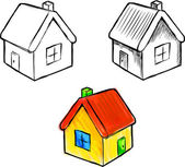 Cute little house vector sketch illustration — Stock Vector