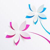 Fond de carte de voeux de vecteur avec fleurs en papier — Vecteur