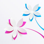 Vector greeting card background with paper flowers — Vector de stock