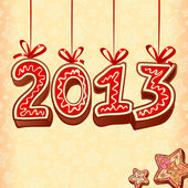 New Year sign 2013, christmas sweets — Stock Vector