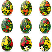 Easter eggs icon set in traditional russian style — Stock Vector