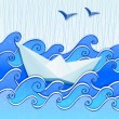 Paper boat in the blue sketched sea - Stok Vektör