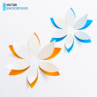 Vector greeting card background with paper flowers — Stock vektor