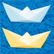 Paper boats in the blue paper sea — Stock Vector
