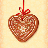 Ornate vector traditional christmas sweet heart — Stock Vector