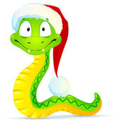 Green snake in blue Santa's hat — Stock Vector