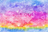 Watercolor hand painted background with hearts — Stock Photo