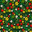 Stock Vector: Strawberry pattern in traditional russistyle
