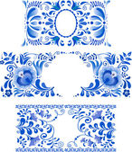 Russian ornaments art frames in gzhel style — Stockvector