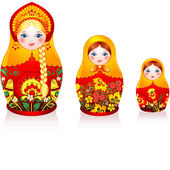 Russian tradition matryoshka dolls — Stock Vector