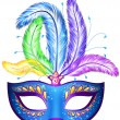 Stock Vector: Vector veniticarnival mask with feathers