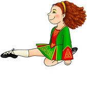 Irish dancing girl in traditional dress — Stock Vector