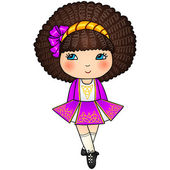 バイオレット従来のアイルランドのダンスの女の子をドレスします。 — ストックベクタ