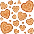 Vector de stock : Ornate vector traditional gingerbread heart set