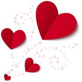 从纸质的情人节卡片的心 — 图库照片