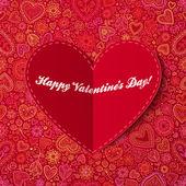 Coração de papel cartão de dia dos namorados — Foto Stock