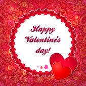 Carte de voeux pour le jour de valentines cercle rouge — Vecteur