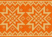 Orange knitted stars sweater in Norwegian style — Stock Vector