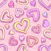 Seamless doodle pattern with hand drawn hearts — Stock Vector