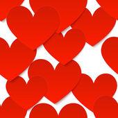 Röd vektor papper hjärtan på vit bakgrund — Stockvektor