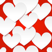 White vector paper hearts at red background — Cтоковый вектор
