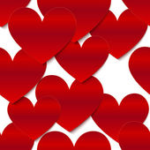 Red glossy vector paper hearts at white background — Vector de stock