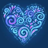 Blue vector shining heart on dark-blue background — Stock Vector