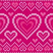 Valentines day knitted vector seamless pattern — Stock Vector