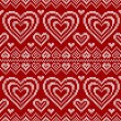 Valentines day red knitted vector seamless pattern — Stok Vektör