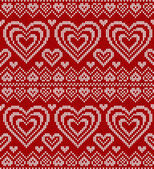 Valentines day red knitted vector seamless pattern — Vetor de Stock