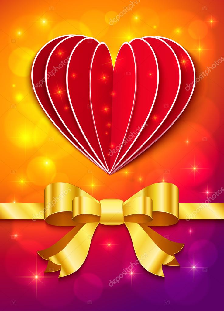 Valentines day greeting card with heart and golden ribbon — Stock Vector #18326071