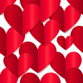 Red glossy vector paper hearts at white background — Vecteur