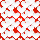 White vector paper hearts at red background — Stock Vector