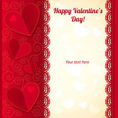 Vector Valentine's day greeting card with hearts — Stock Vector