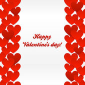 Red hearts valentines day greeting card — Stock Vector