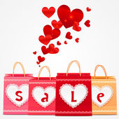 Valentines day vector shopping bags greeting card — Stock Vector