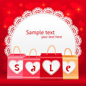 Valentines day vector shopping bag lacy card — Stock Vector