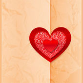 Craft paper folder closed by heart sticker — ストックベクタ