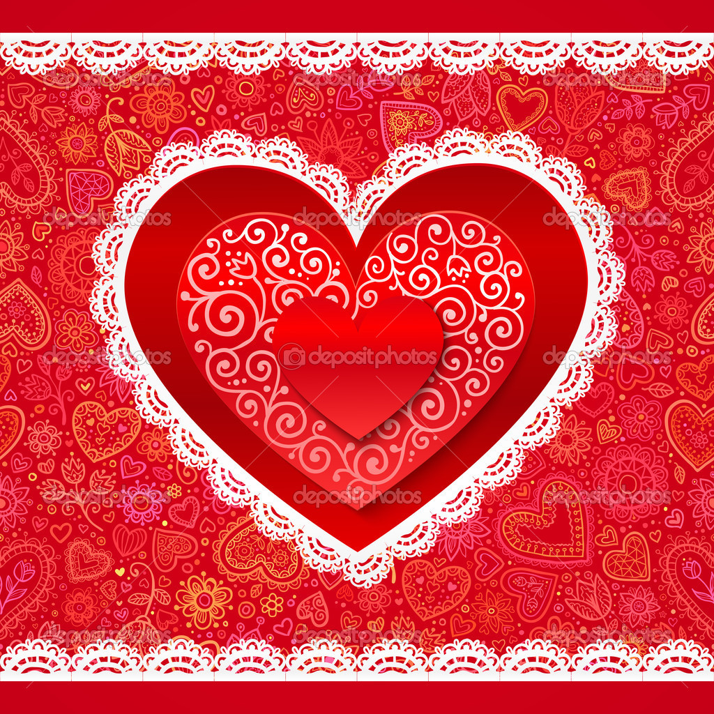 Vector Valentines day hearts greeting card on ornate background — Stock Vector #18434247